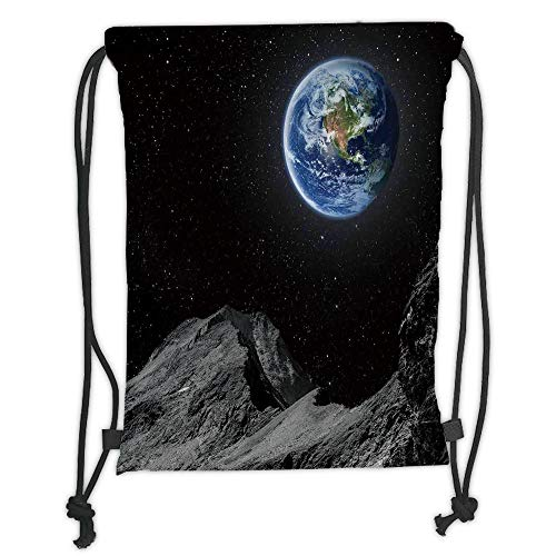 Drawstring Backpacks Bags,Galaxy,Planet Earth Rocky Cliffs of Moon Lunar Panorama Art Cosmos Outer Space Print,Blue Black Grey Soft Satin,5 Liter Capacity,Adjustable String Closure