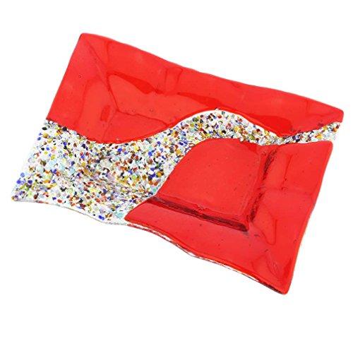 Glassofvenice Verre de Murano Klimt rectangulaire décoratifs plate - Rouge