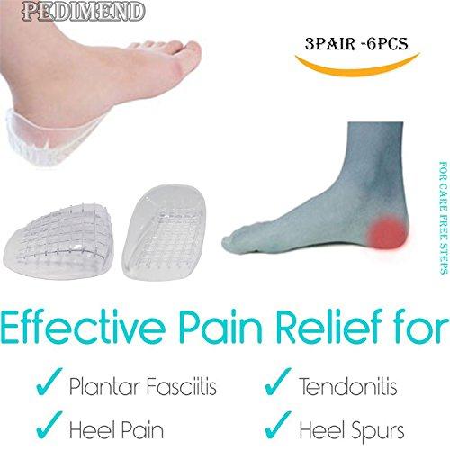 Pedimend Talon support Tasse (Blanc) (3pairs – Lot de 6) – Coque en silicone gel Semelles orthopédiques Semelles à chaussures – Support pour talon et cheville – réduisant la douleur/la fatigue et l'inflammation – multicouche à motif gaufré Absorbe les chocs – pour Homme et Femme – Foot Care