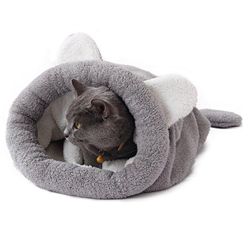 mausekatz de repetición Cuna, gato cueva y gato cama en forma de la chaise Longe Ratones, geräumiger gato túnel, 100% algodón, peso 390g, tamaño 58cm x 60cm, color gris