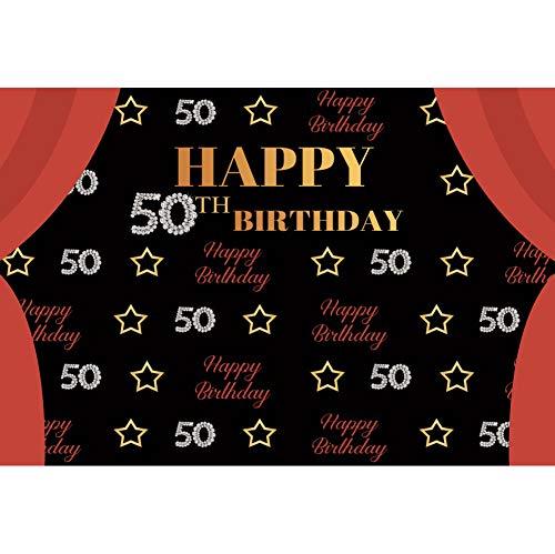 YongFoto 1,5x1m Vinyl Foto Hintergrund 50 Happy Birthday Banner Alles Gute zum Geburtstag fasst Tafel ab Vorhang Fotografie Hintergrund für Photo Booth Party Fotostudio Requisiten