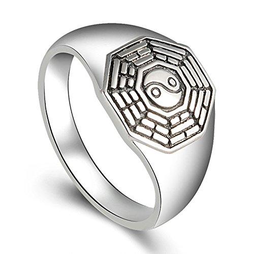 Aooaz Gioielli anelli da uomo anello argento 925 Anello Otto Taiig di Trigrams anelli vintage Argento