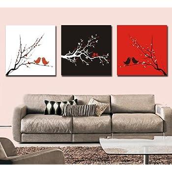 Noir et Blanc et rouge Art abstrait oiseaux d'amour contemporain, moderne decor de mur, 3 panneaux toile encadree, pret a accrocher # 05-74
