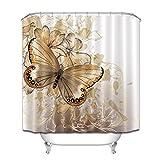 Unbekannt Floral Dusche Vorhänge Blume Schmetterling Wasserdicht Bad Vorhang Bad Vorhang Duschvorhang Haken Für Badezimmer Dekoration 180 * 180 cm