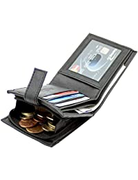 PELLET® Black New Stylish Genuine Leather Wallet With 3 Card Slots ID Slot, RFID Blocking For Men And Boys