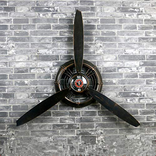 Creative Wall Clock, Vintage Industrial Wind Decorations Airplane Propeller Wall Clock, Wrought Iron Wall Decoration Wall Hanging Store-A 67x7x67cm (26x3x26inch)