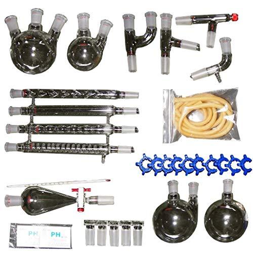 Labware Destillationsgerät für ätherische Öle, Hydrosol, Wasserdestillierer, Reiniger, Gläser-Set mit 24/40 Gelenk, 32 Stück -