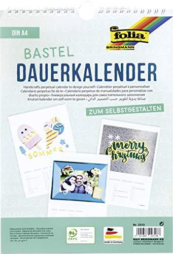 folia 2313 - Dauerkalender mit Spiralbindung, Bastelkalender, DIN A4, weiß - zum Selbstgestalten