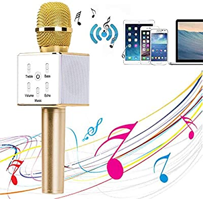 YOCILO Altavoz Bluetooth Karaoke Player Gold Micrófono inalámbrico para KTV Karaoke Player Compatible para teléfono móvil iPhone y Android o PC con USB