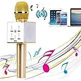 YOCILO Bluetooth Lautsprecher Karaoke Player Gold Kabellos Mikrofon für KTV Karaoke Player Kompatibel für Handy iPhone und Android oder PC mit USB (Gold)