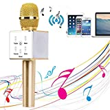 YOCILO Altavoz Bluetooth Karaoke Player Gold Micrófono inalámbrico para KTV Karaoke Player...