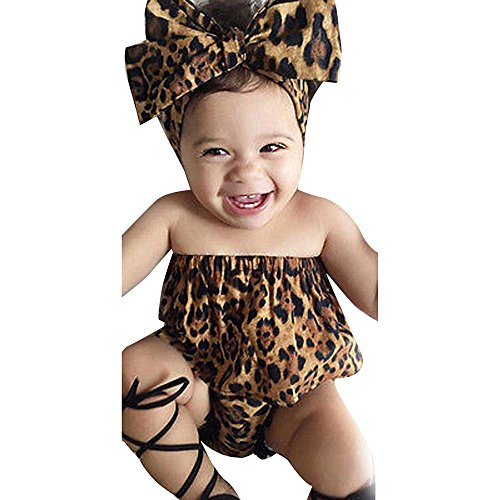 Igemy 3pcs Kinder Kleinkind Baby Mädchen Leopard Top Bluse + Hosen Stirnband Outfits Set Anzug (90, Schwarz)
