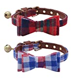 2 pcs/set Adjustable Bow Tie Small Dog Collar with Bell Charm 8-10' PUPTECK