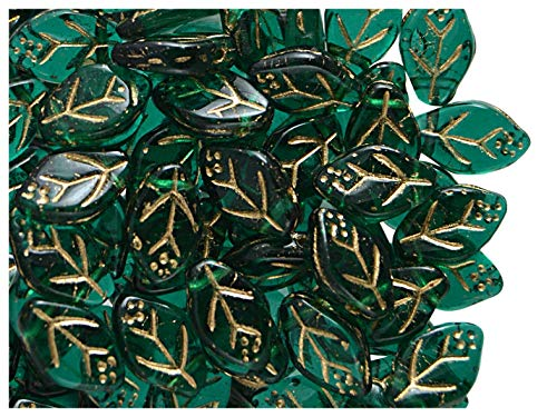 50stk 7x12mm Blätter Tschechische Gepresste Glasperlen, Emerald-Gold (Dark Green Transparent - Gold) -