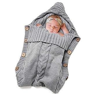 Swaddle Wrap Bebe,Saco de Dormir Cuna Bebe,Unisex Swaddle Manta,Saco de Dormir Bebe Recien Nacido,Manta de Invierno Bebe,Manta Bebe,Punto de Ganchillo, para Bebés (60 * 40cm)