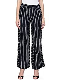 I AM FOR YOU Poly Crepe Strips Pattern Plazzo For Women's & Girl's - (Black)