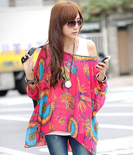 KK-Go Damen Boho Blumen 3/4 Armel Chiffon Bluse T-Shirt Fledermaus 40 Stil