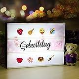 Lichtbox, Lightbox A4, led Leuchtkasten mit 98 buchstaben und 28 weiß Symbole 55 bunten emoji für...