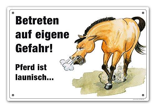 """Schild """"Betreten auf eigene Gefahr - Launisches Pferd"""""""