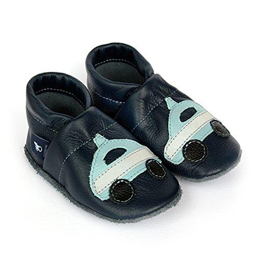pantau.eu Lederpuschen Lauflernschuhe Leder Krabbelschuhe Babyschuhe mit Polizei Blau_Hellblau