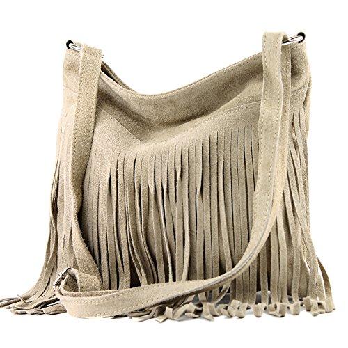 modamoda de - Made in Italy Ital. Sac à bandoulière en cuir Frans sac dames sac à bandoulière sac en daim T125, Präzise Farbe (nur Farbe):T145 Sandfarben