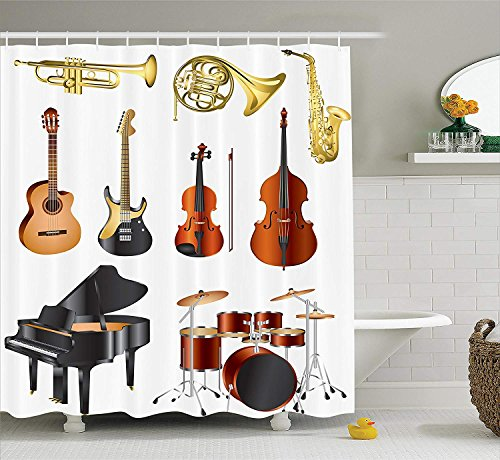 Music Shower Curtain, Musical Instruments Symphony Orchestra Concert Composition Theme Colorful Pattern, Cloth Fabric Bathroom Decor Set with Hooks, 66x72 inches, Black Brown (Halloween Symphony Orchestra)