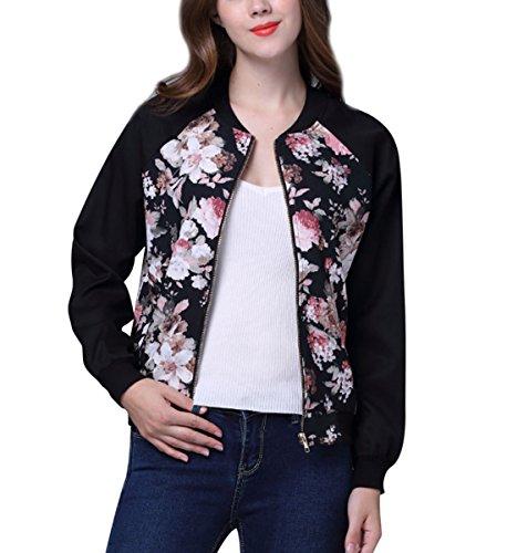 JLTPH Damen Bomberjacke Blumen Bedruckte Langarm Zipper Baseball Mantel Kurzjacke Fliegerjacke Bikerjacke Pullover Jacke Outwear Tops Coat
