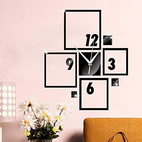 Yazidan Moderne große Wanduhr 3D Spiegel Aufkleber einzigartige Anzahl Uhr DIY Dekor Mode Persönlichkeit Uhr Wandaufkleber