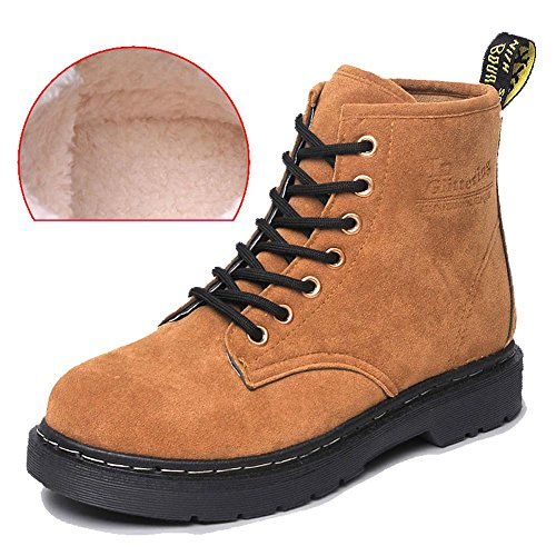women ankle short martin boots leather suede long plush flat heel winter warm casual shoelace snow cotton retro shoes . brown . 39 Jordan 14 Retro Low