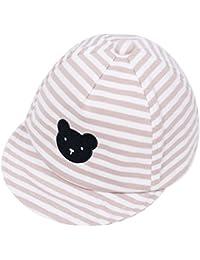 91117655428 Eriso Baby Boy Embroidery Baseball Cap Newborn Stripe Cotton Hat (6-12  Months