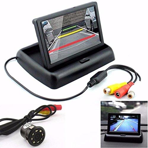 Koly Retrovisor del coche de 170 ° 8LED cámara de visión nocturna y 4.3 '' LCD plegable de visualización del monitor