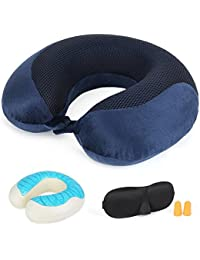 G-Force Memory Foam Neck Travel Pillow with Cooling Gel (Blue/Black)