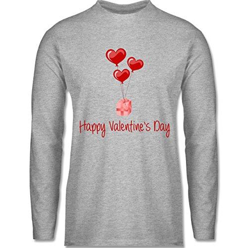 Shirtracer Valentinstag - Happy Valentine's Day Geschenk Herz Luftballon - Herren Langarmshirt Grau Meliert