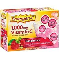 Emergen-C (30 Unidades, Sabor a Frambuesa Suplemento dietético para Bebidas, Mezcla con 1000 MG de Vitamina C, Paquetes de 0,32 onzas, sin cafeína.3 Pack
