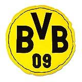 Borussia Dortmund BVB Kissen rund mit Emblem, Polyester, Schwarz/Gelb, 42 x 42 x 5 cm