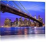 New York Brooklyn Bridge Bild auf Leinwand, XXL riesige Bilder fertig gerahmt mit Keilrahmen, Kunstdruck auf Wandbild mit Rahmen, guenstiger als Gemaelde oder Bild, kein Poster oder Plakat, Format:100x70 cm