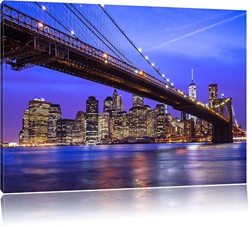 Brooklyn Bridge Lichter (New York Brooklyn Bridge Bild auf Leinwand, XXL riesige Bilder fertig gerahmt mit Keilrahmen, Kunstdruck auf Wandbild mit Rahmen, guenstiger als Gemaelde oder Bild, kein Poster oder Plakat, Format:100x70 cm)