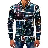 YunYoud Lässige Männer Mode Printed Bluse Casual Langarm Slim Shirts Tops top modische herrenhemden hemd kurzarm weiß dunkelblau langarm herren hemden regular style gelb kariertes