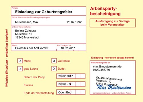 100/150 Einladungskarten Geburtstag | diverse Motive | Zum selber bedrucken | Professionelle Vorlagen | originell, witzig, individuell (100 Motiv Krankenschein gelb)