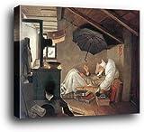1art1 Carl Spitzweg Poster Kunstdruck als Blockbild - Der Arme Poet (50 x 40cm)