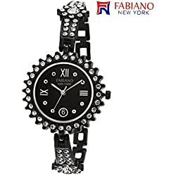 Fabiano New York Black Studded Analog Wrist Watch for Women & Girls