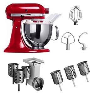 """Kitchenaid KSM150PSEER + MVSA + EMVSC Kitchenaid 5KSM150PSEER Küchenmaschine Serie """"Artisan"""" plus Zubehör mit 6 Trommeln, rot"""