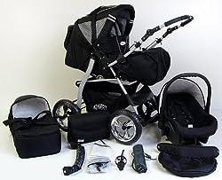 3 in 1 Kombikinderwagen Komplettset VIP - inkl. Kinderwagen, Babyschale und Sportwagen Aufsatz - 4. Grau Hartgummi Bereifung - 33. Schwarz