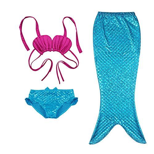 Lvbeis Mädchen Meerjungfrau Badeanzug Realistische Swimmable Tails Bikini KostÜM Cosplay Mermaid KostÜM Monoflosse Schwimmen,-Blue,120cm