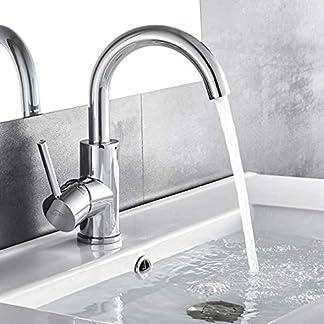 51YttPUGtHL. SS324  - AuraLum - Grifo para lavabo (giratorio 360°, para cuarto de baño, manguera de 50 cm)