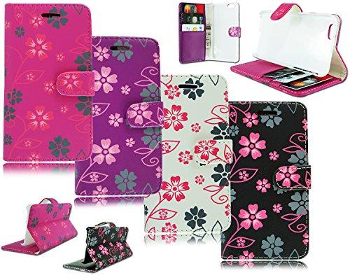 NEW Fleur Floral Étui portefeuille à rabat en cuir pour Apple i Phone 611,9cm Pink Flower Flip
