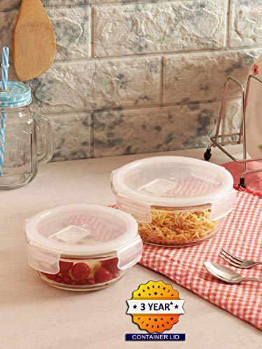 Femora Borosilicate Round Glass Food Storage Container with Air Vent Lid(Transparent) - 380 ML & 580 ML-Set of 2