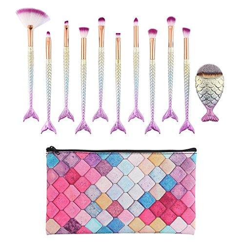 Pawaca Mermaid Lot de pinceaux de maquillage à paupières avec coloré Cosmétique Sacs, Naturel à poils doux kit d'outils beauté pour fard à paupières, sourcils, eyeliner mélanges 11 pcs