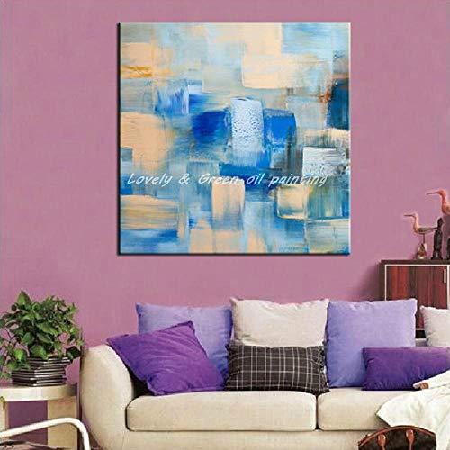 SHYHSCLBD Ölgemälde Auf Leinwand Handgemalt,Große Moderne Kunst Malerei, Abstrakt Blau Beige Geometrischen Quadrat, Startseite Wand Dekor Für Office Restaurant Wohnzimmer Schlafzimmer Esszimmer -