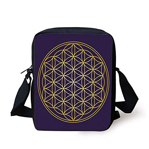 Abstract,Geometric Curved Rounds Shape Overlapping Circles Artsy Sacred Image,Dark Purple Earth Yellow Print Kids Crossbody Messenger Bag Purse (Coach Laptop Bag 13)